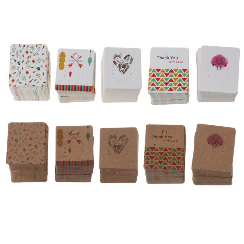 100Pcs Flower Tree Kraft Paper Drop Earrings Card Display Studs Earring Kraft Paper Tags Holders Jewelry