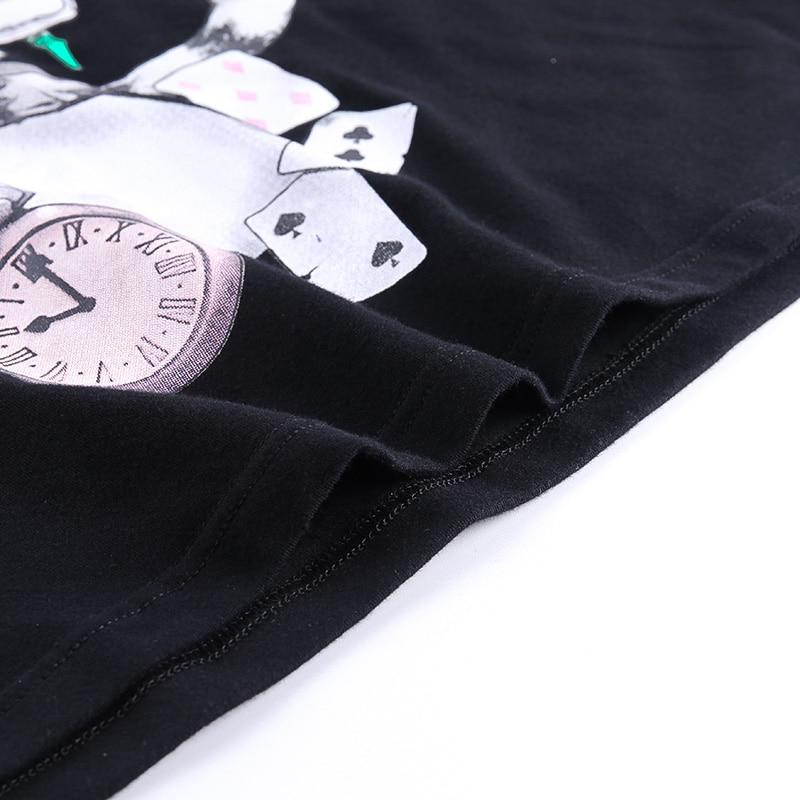 Insdoit impresso camiseta feminina gótico harajuku manga