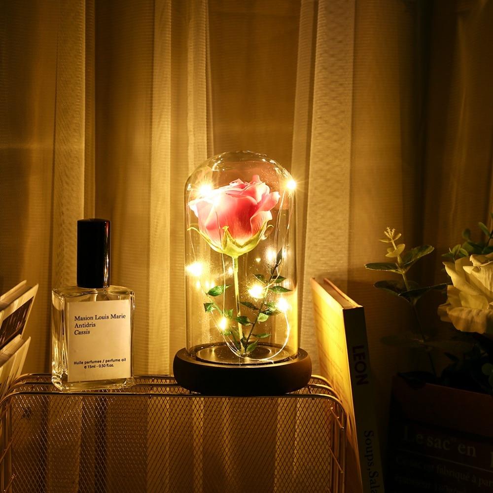 Eternal Flower Glass Cover Beauty And Beast Eternal Flower Rose In Flask 24