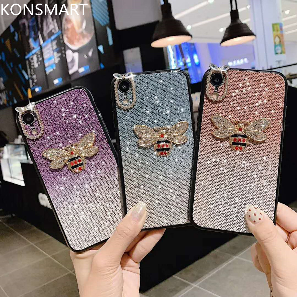 Shiny 3D Bee Case For Huawei Honor 8X 8 9 10 Lite 7X 8C 9X Pro Play Silione Back Cover V10 V9 Glitter Cases KONSMART