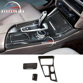 For BMW 5 Series F10 2011-2016 3x 100% Carbon Fiber Gear Shift Frame Cover Trim