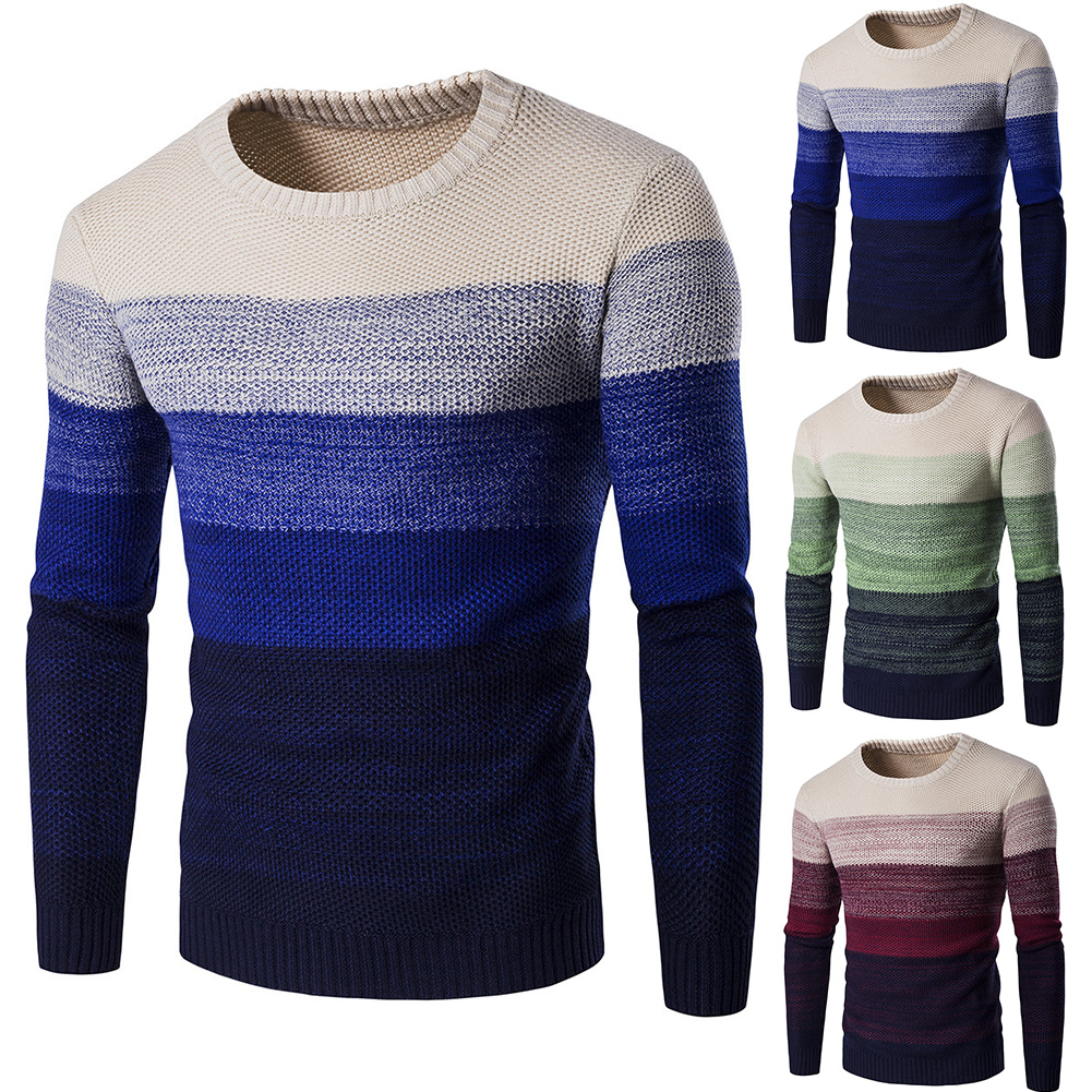 Men Autumn New O-Neck Causal Pullover Men Striped Sweater Pullovers Men Brand Warm Knitwear Casual Sweaters Jumper For Teens Men