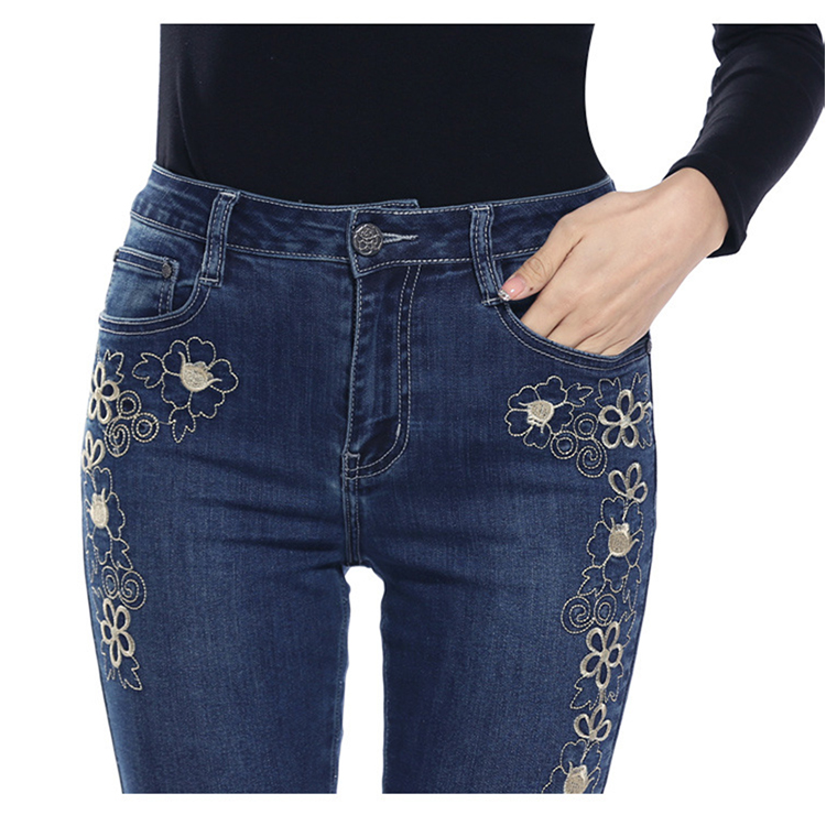 KSTUN FERZIGE women jeans dark blue stretch high waist slim fit side embroidered florals spring and summer cropped pants denim jeans 16