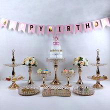 more tray gold  wedding Cake Stand Set white Crystal Metal Cupcake decorations Dessert Pedestal Party Display Table Decorations