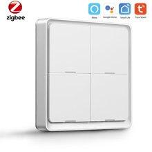 4 Gang Tuya ZigBee Wireless Push Button Switch Smart Home Control Support Zigbee Assistant Smart Home Automation