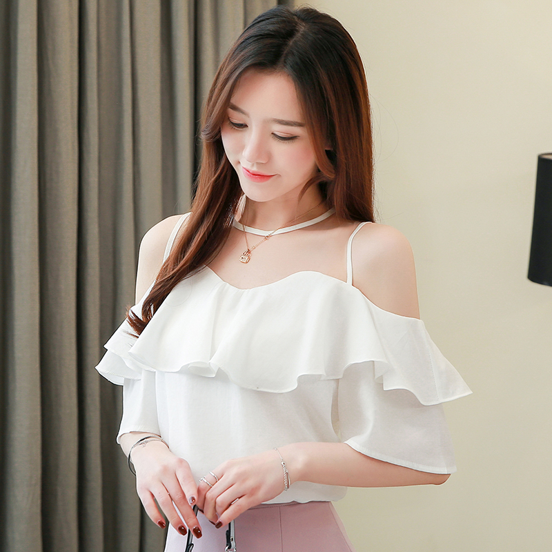 Korean Fashion Chiffon Blouses Women Ruffles Shirt Plus Size Tops Woman Short Sleeve Blouse Mesh Top Blusas Mujer De Moda 2020