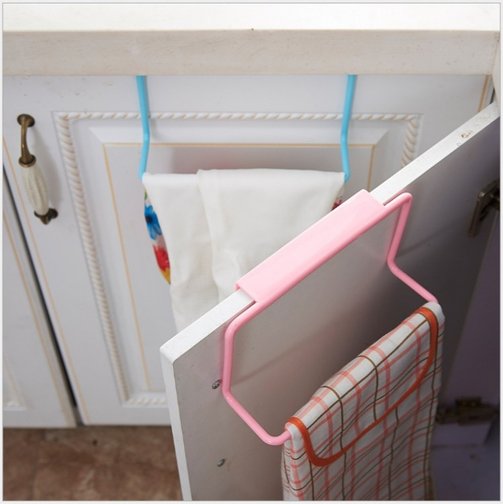 Towel Rack Hanging Holder Organizer Bathroom Kitchen Cabinet Cupboard Hanger Cabinet Wash Cloth Hook Shelf Storage Rack
