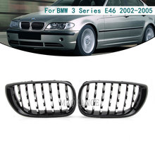 Haube Grill für BMW E46 Saloon 4 Türen 3 Serie 2002 2005 320i 325Xi 330Xi Racing Grille Front Chrome schwarz glänzend Breite Niere
