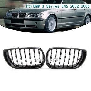 Image 1 - Haube Grill für BMW E46 Saloon 4 Türen 3 Serie 2002 2005 320i 325Xi 330Xi Racing Grille Front Chrome schwarz glänzend Breite Niere