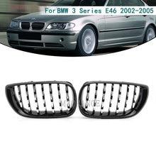 Hood สำหรับ BMW E46 Saloon 4ประตู3 Series 2002 2005 320i 325Xi 330Xi Racing Grille ด้านหน้า Chrome gloss สีดำกว้าง Kidney