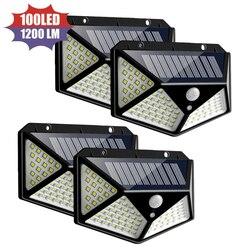 4 Pçs/lote 100 LED de Energia Solar Sensor de Movimento PIR Lâmpada de Parede de Luz Ao Ar Livre Solar À Prova D' Água Levou Suporte Da Lâmpada Atacado Dropshipping
