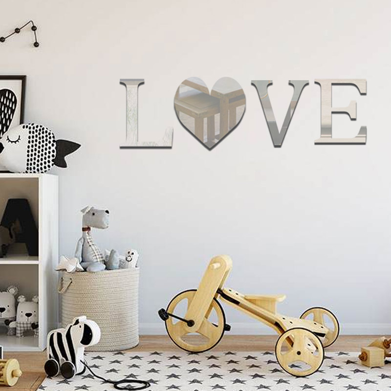 English Capital Letters Happy Love Silver Espejos Mirror Wall Stickers Bedroom Wall Decor Decals For Room Home House Decoration Wall Stickers Aliexpress