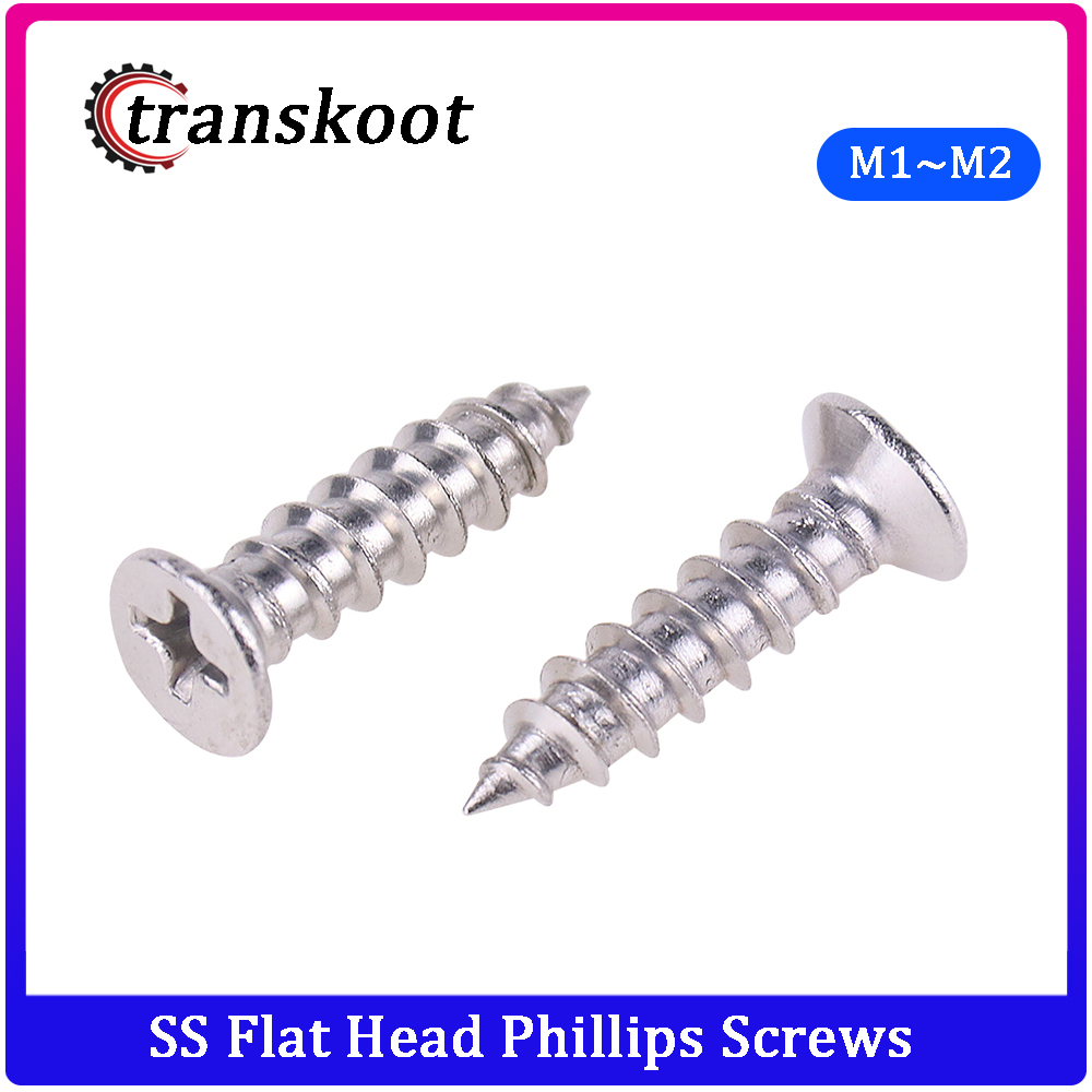 50Pcs DIN7982 ISO7050 304 Stainless Steel Cross Recessed Flat Head <font><b>Screws</b></font> Phillips Self-tapping <font><b>Wood</b></font> <font><b>Screws</b></font> M1 M1.2 M1.4 M1.7 <font><b>M2</b></font> image