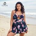 Cupshe plus size floral halter recorte um pedaço vestido maiô grande sexy mulheres monokini fatos de banho 2020 praia