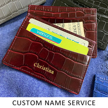 FREE CUSTOM NAME luxury leather card holder with croco pattern(China)