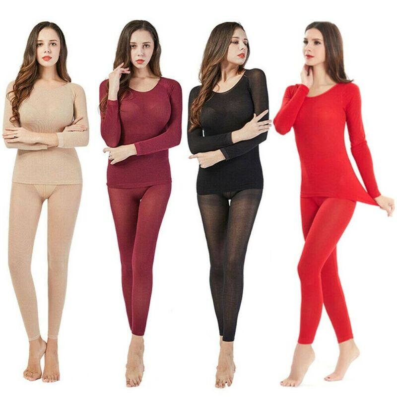 2020 New Hot Women Thermal Underwear 2 Pieces Sets Solid Stretchy Bodycon Slim Stretchy Warm Seamless Autumn Winter