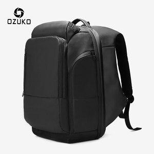 Ozuko masculino grande capacidade 17 polegada portátil mochila masculino usb de carregamento multi-camada mochilas saco de viagem à prova dwaterproof água ocasional
