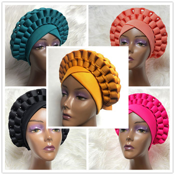 Nigerian gele headtie with beads already made auto hele turban cap african aso ebi gele aso oke headtie with beads-AC30 image