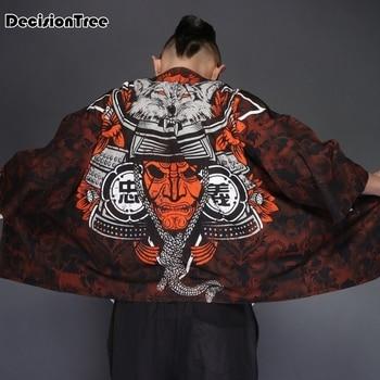 2020 japanese kimono cardigan men wave print long street style kimono cardigan men black kimono cardigan male coat allover florals print fringe hem kimono