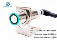 Sensor de distancia ultrasónico M18 de alta precisión, sensor analógico de 0 5V/0 10V/1 5MA/4 20Ma, interruptor con sensor de proximidad