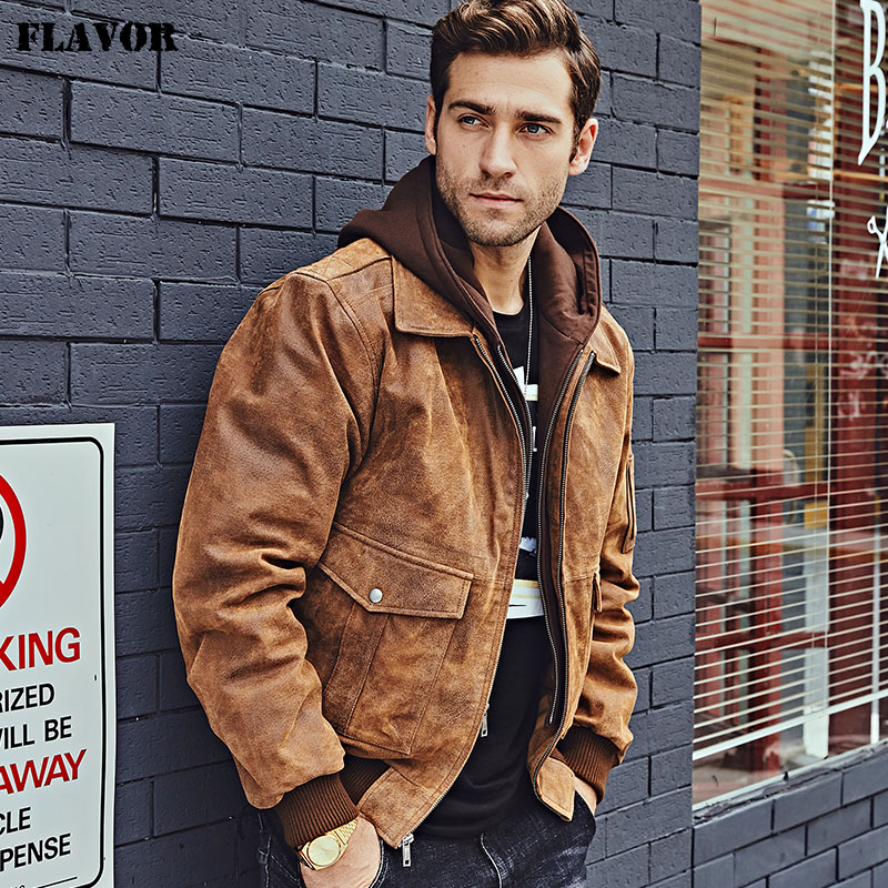 FLAVOR New Men's Genuine Leather Bomber Jackets Removable Hood Men Air Forca Aviator winter coat Men Warm Real Leather Jacket