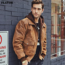 FLAVOR New Men's Genuine Leather Bomber Jackets Removable Hood Men Air Forca Aviator winter coat Men Warm Real Leather Jacket(China)