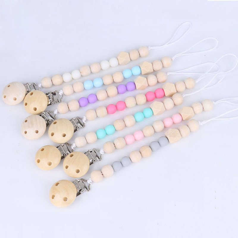 Baby Pacifier Clip Chain Baby Wooden Beads Dummy Clip Chupetas Soothie Pacifier Clips Leash Nipple Holder Teether Anti-Drop Rope