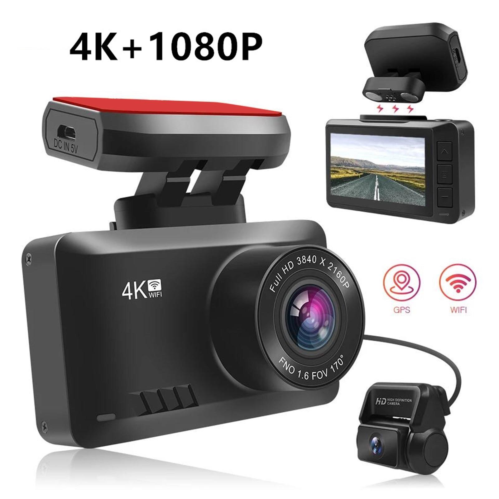 Grabadora de conducción oculta 4K, pantalla LCD de 2,4 pulgadas, visión nocturna transparente, Monitor de aparcamiento, DVR, WIFI, seguimiento GPS, tarjeta de memoria de 128G, cámara de salpicadero