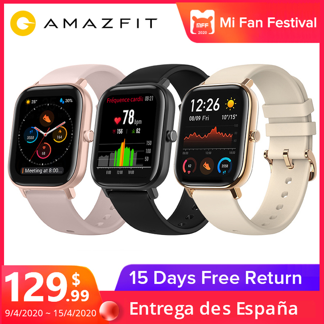 $ US $129.99 Huami Amazfit GTS Global Version Smart Watch 5ATM Waterproof 14 Days Battery GPS Music Control Like Apple Watch