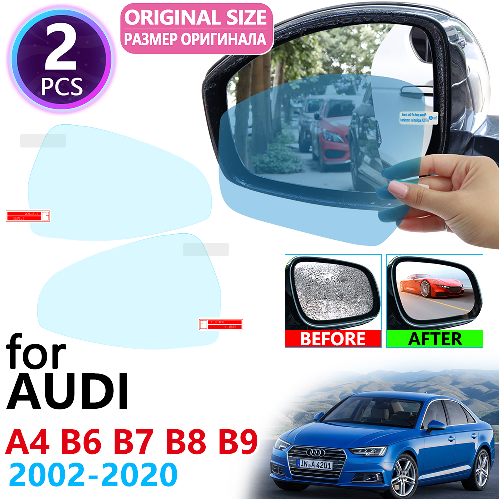 For Audi A4 B6 B7 B8 B9 8E 8H 8K 8W S4 RS4 2002~2020 Full Cover Rearview Mirror Rainproof Anti Fog Film Accessories 2015 2019