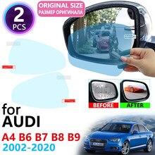 Для Audi A4 B6 B7 B8 B9 8E 8H 8K 8W S4 RS4 2002 ~ 2020 полное покрытие зеркало заднего вида непромокаемая противотуманная пленка аксессуары 2015 2019