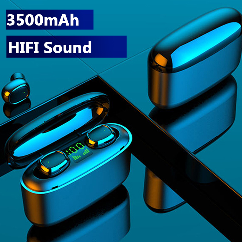 Hembeer 2200mAh TWS Wireless Bluetooth Earphones Touch Headphones HD Stereo Hifi Sound Noise Cancelling Headsets For All Phone