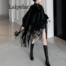 Women black khaki batwing sleeve faux wool cloak capes stand collar zipper pullover tassel coat winter batwing sleeve wool cape coat