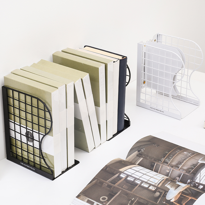 Black White Bookshelf Bookends Metal Book Stand Adjustable Wire Mesh Shelf Simple Creative Desk Magazine Book Holder Stand