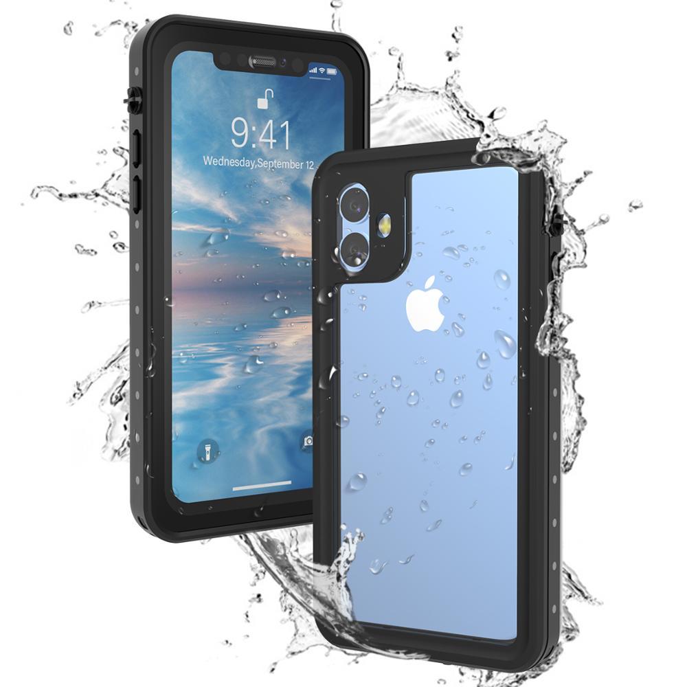 Para o iphone 11 pro max x xr xs max caso ip68 à prova dip68 água 360 graus à prova de choque mergulho capa para iphone 7 8 plus caso subaquático