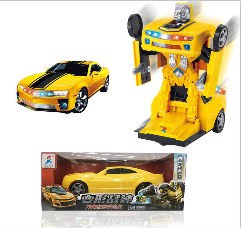 Bumblebee Electric Transformer Light And Sound Universal Deformation Robot Toy Car