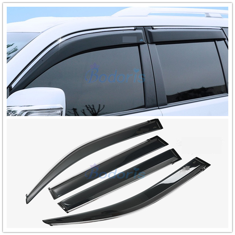 4x Window Wind Deflector Visor Rain Sun Guard Vent For Toyota Prado FJ150 10-18