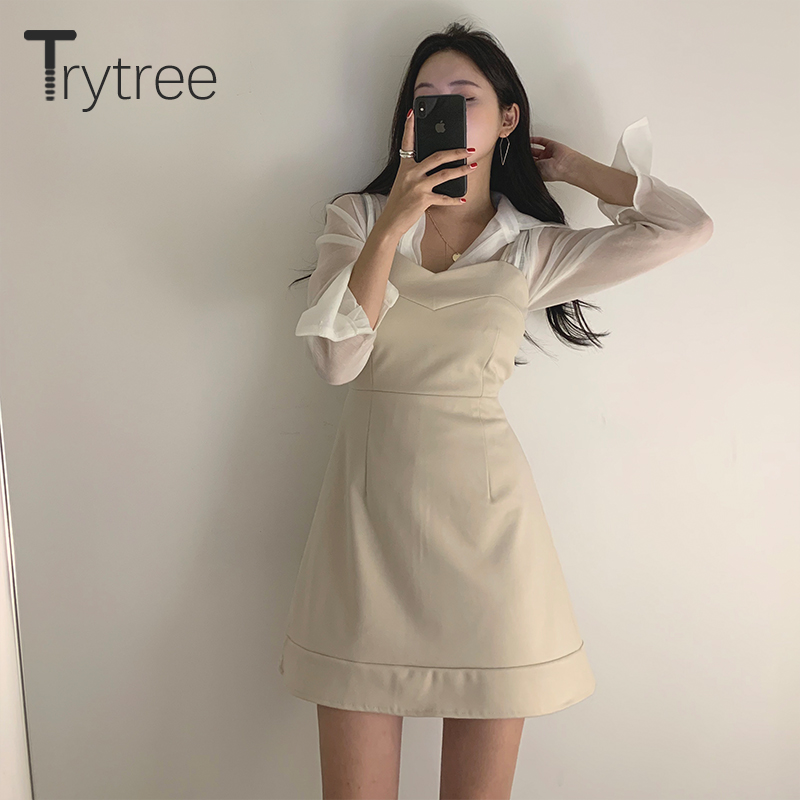 Trytree 2020 Spring Two Piece Set Casual Turn-down Collar Solid 4 Colour Blouse Top + Dress Sling Mini A-line Set 2 Piece Set