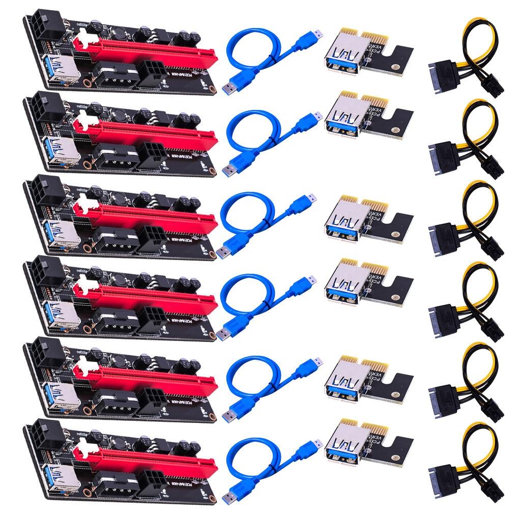 6 шт. новые VER009 USB 3,0 PCI-E VER 009S Экспресс 1X 4x 8x 16x удлинитель адаптер SATA 15pin до 6 pin Мощность кабель