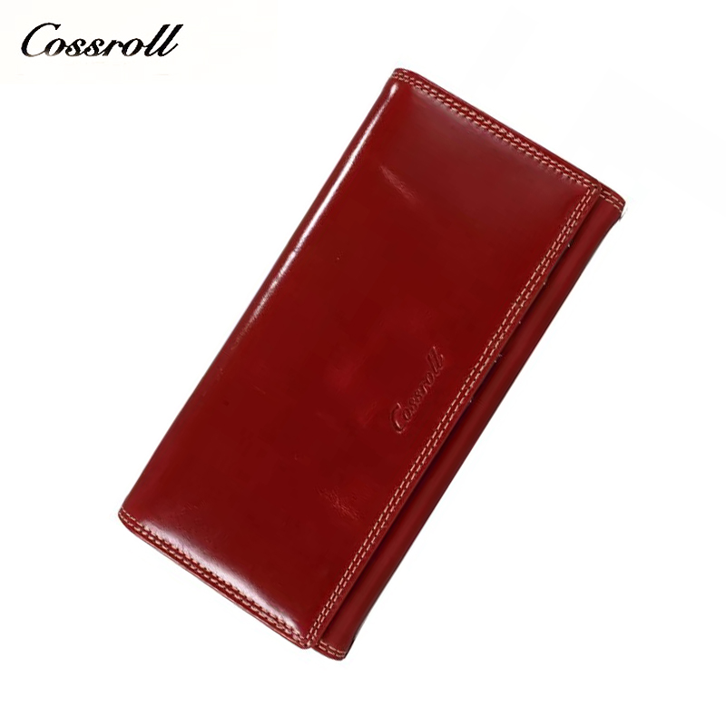 cossroll New Women's long fashion wallet leather oil wax buckle wallet wallet ladies large capacity three fold clutch bag tide