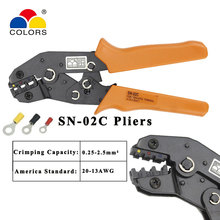 Crimping pliers SN-02C Non-insulated terminals and non-insulated ferrules and Tab receptacles Hand tool 10 16 25 35mm super strength saving crimping pliers ratchet crimping tool insulated and non insulated cable end sleeves dr1035gf