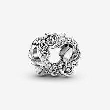 Genuíno 2021 novo 925 contas de prata esterlina coração aberto & rosa flores encantos caber pulseira pandora original feminino jóias diy