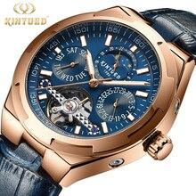 KINYUED Multifunctional Hollow Flywheel Star Calendar Men's Watch Business Luminous Mechanical Watch Relogio Masculino J065