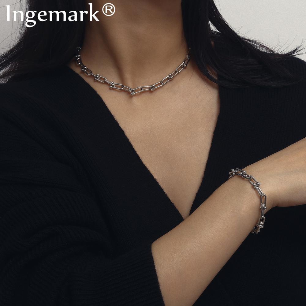Vintage Punk Lock Chain Choker Necklace NE+BA Statement Gothic Twisted Chunky Link Chain Bracelet for Women Fashion Jewelry Set