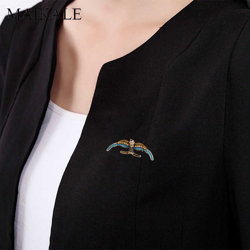 Maikale Pesona Burung Elang Bentuk Bros Pin Enamel Hewan Bros untuk Wanita Anak Kain Selendang Kemeja Lencana Tas Liontin Aksesoris