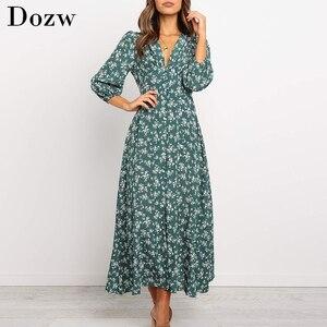 Women Elegant V Neck Long Shirt Dress 2019 Autumn Floral Print Three Quarter Sleeve Split Dress Casual Button Boho Midi Dresses