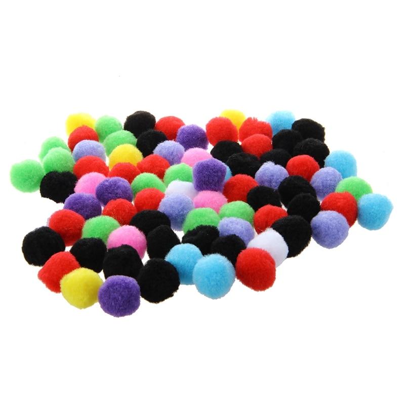 80 шт Круглые разноцветные помпоны.