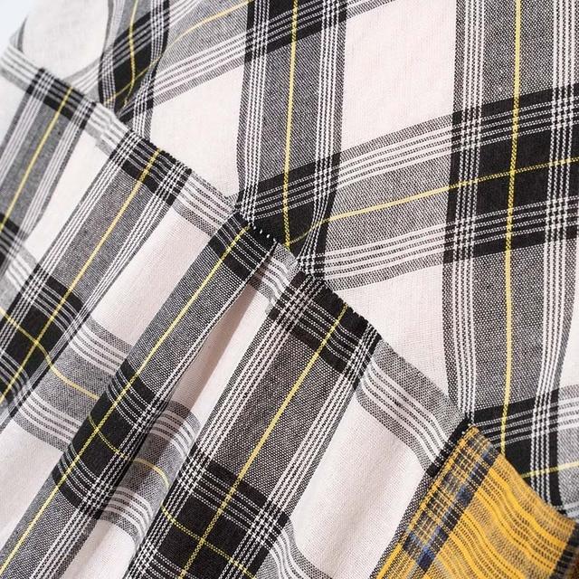 ALLKPOPER KPOP  Plaid Shirt Women Bangtan Boys SUGA Blouse Korea Fashion Plus Size Casual Spring Autumn Splice Shirts 5