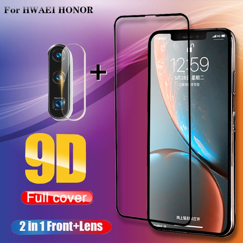 2 In 1 Full Cover 9D Tempered Glass For Huawei P30 P20 Lite Honor 8X 9X 9X-Pro Honor 10 20 Lite 10i 20i Screen Protector Film