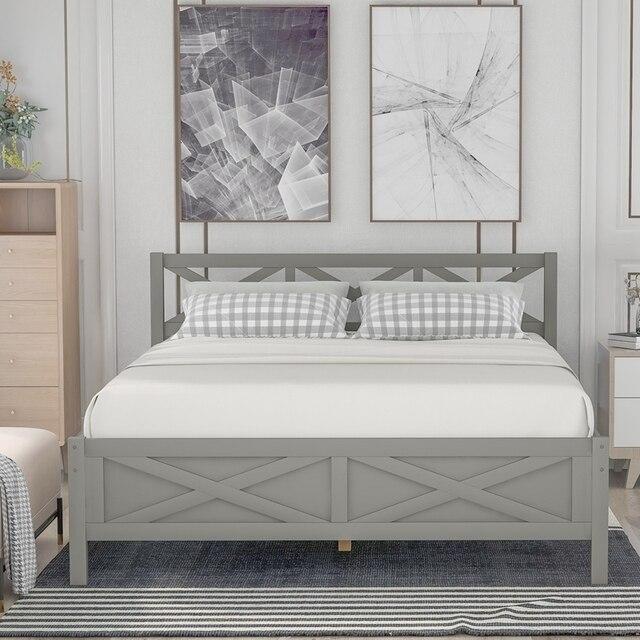 Queen Size Wooden Platform Bed 6